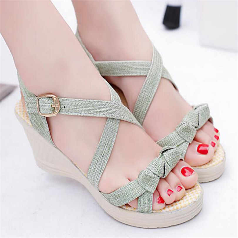 ff09702f3df6ce ... LIN KING Sweet Bowtie Women Sandals Thick Sole Wedges Platform Shoes  Height Increase Summer Shoes Leisure ...