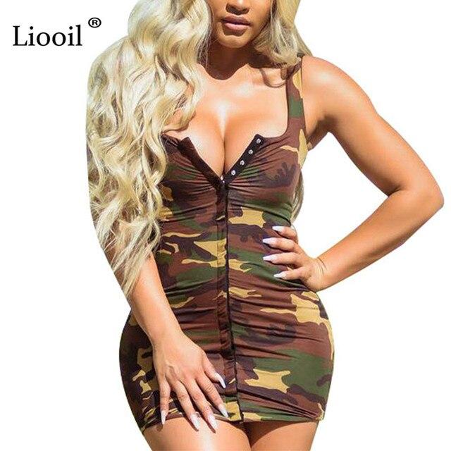 a623c29e9f998 Liooil Sexy Club Strapless Spaghetti Strap Camouflage Pint Mini Dress Women  Elegant V Neck Backless Bodycon Party Short Dresses
