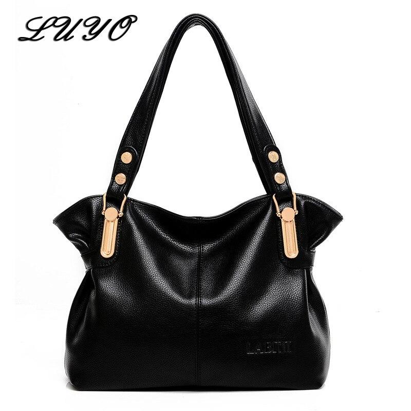 LUYO Genuine Leather Bag Female Women Leather Handbags Shoulder Bags For Women Black Casual Messenger Tote Bag Ladies Handbag цена