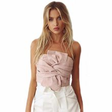 b20c4a330d Trandy Bow Summer Women Suede Casual Tank Tops Vest Sexy Crop Sleeveless Crop  Tops(China