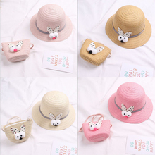 2019 new version of cute little rabbit head children's straw hat girls princess hats trave