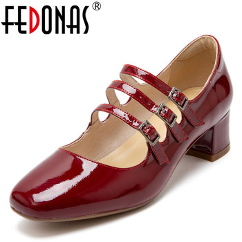 FEDONAS Mary Janes Sweet Party Prom Pumps Women Fashion Spring Summer Shoes Woman Patent Leather Square Toe Shallow Women Shoes