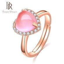 Bague Ringen Heart Gemstone Created Pink Rose Quartz Adjustable Ring 925 Sterling Silver Jewelry for Women Wedding