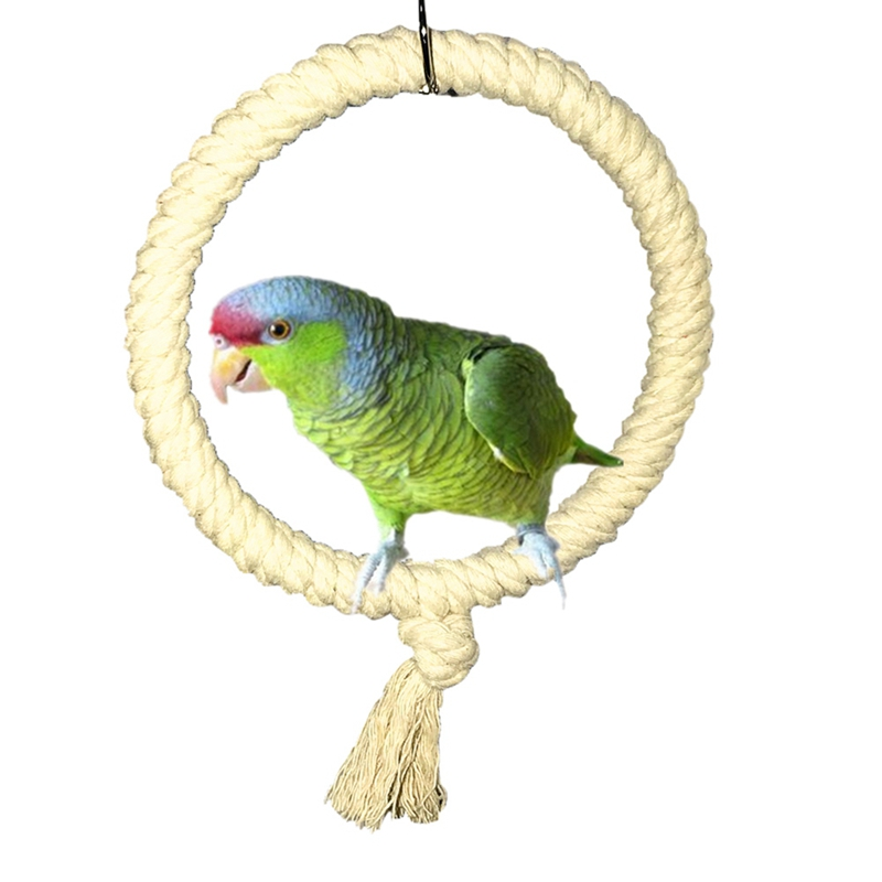Corda de papagaio, barra de pé, pet, pássaro, mastigação, anel de brinquedo para gaiola