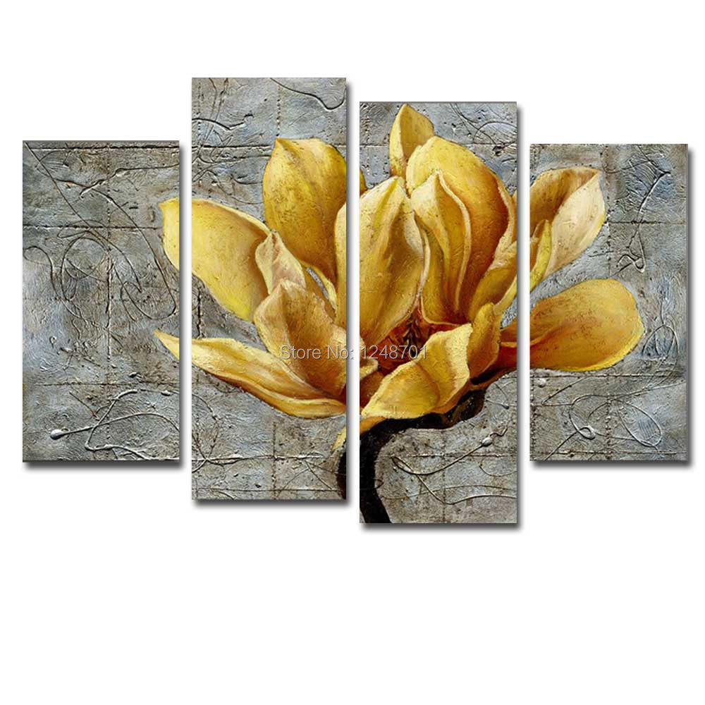 Hand Painted Modern Abstract 4 Pieces Canvas Yellow Flower Oil Painting Abstract Flower Wall Picture Living Room Home Wall DecorHand Painted Modern Abstract 4 Pieces Canvas Yellow Flower Oil Painting Abstract Flower Wall Picture Living Room Home Wall Decor