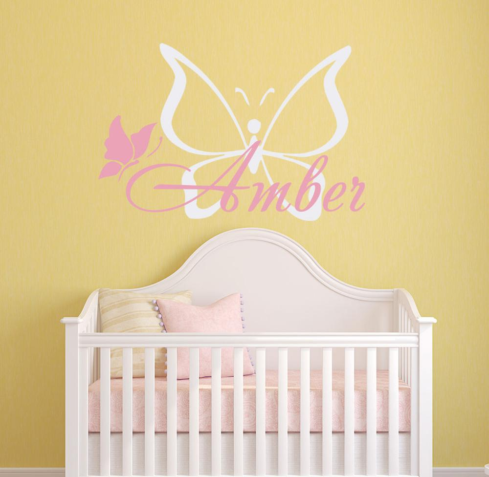 Customized Name Wall Decals Butterfly Personalized Decal Girls Kids ...