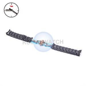 Image 5 - 22mm Homem Pulseira de Relógio de Cerâmica Cor Preta Borboleta Fivela Pulseira Pulseira de Cerâmica para AR1410 AR1400