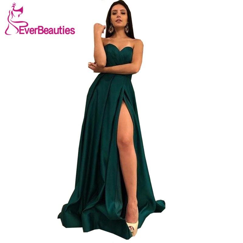 Abendkleider 2019 Sweetheart Hunter Green   Evening     Dress   Long Side Slit Formal   Dress   Robe De Soiree Abiye Gece Elbisesi