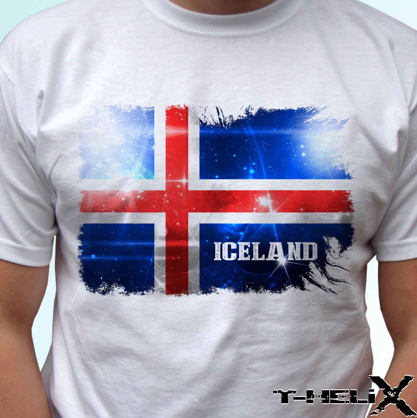 Iceland flag - white t shirt top country design - mens womens kids baby sizes custom printed tshirt,hip hop funny tee