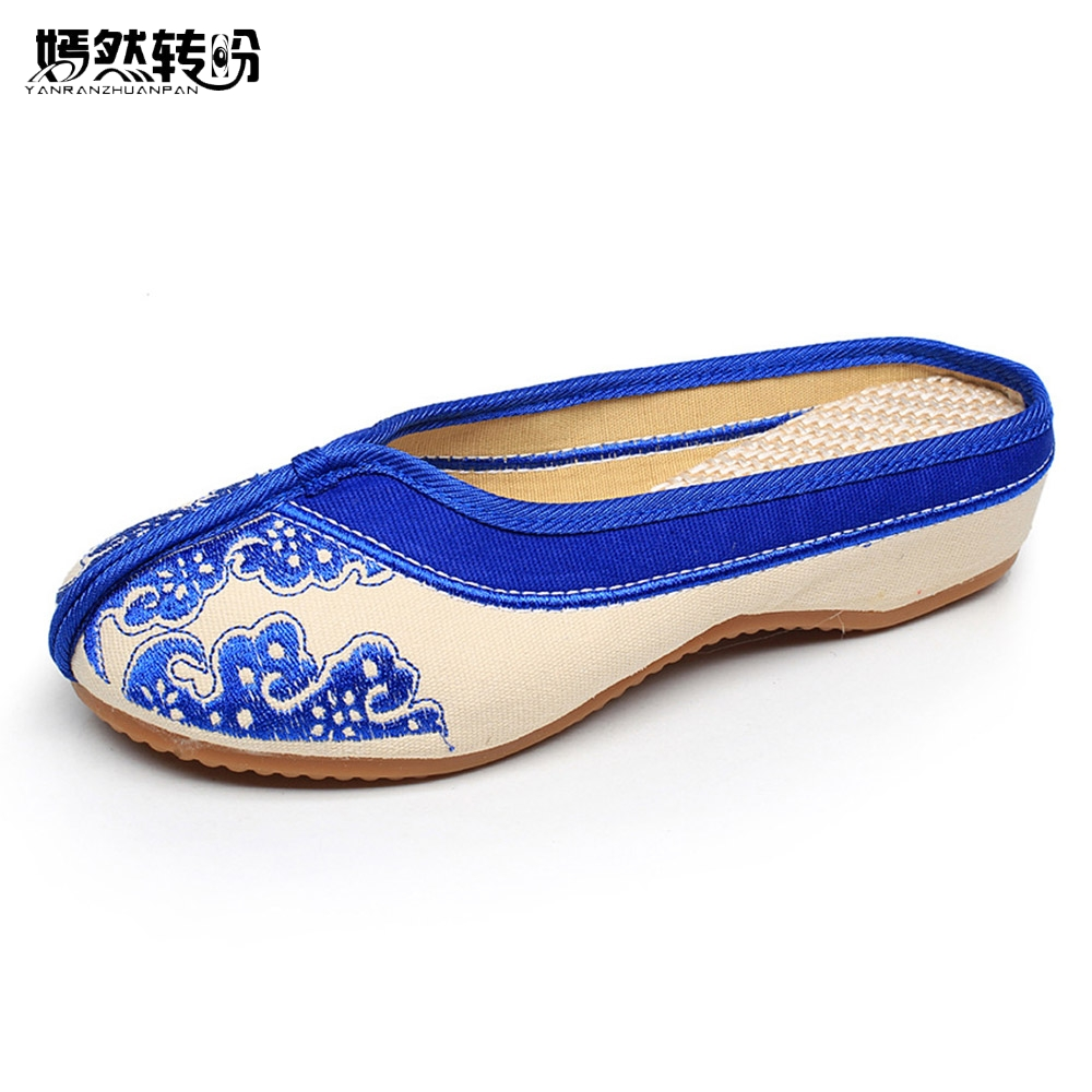 Women Slippers Chinese Blue and White Embroidery Ethnic Shoes Woman Old Peking Slippers Soft Sole Flip Flops Chinelo Feminino