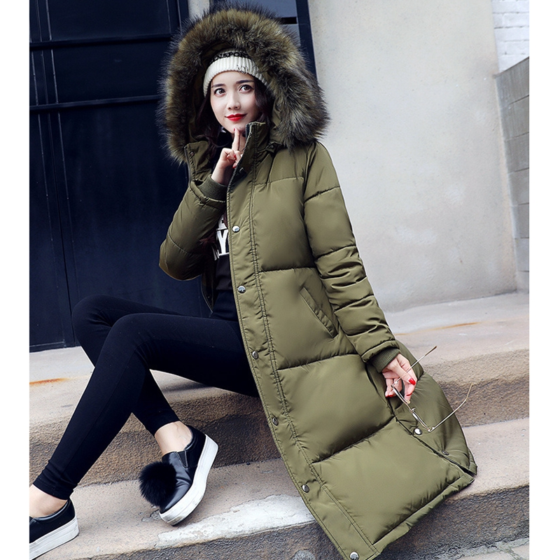2017 NEW HOT SALE WOMEN WINTER JACKERS BIG FUR COLLAR HOODED THICKEN WARM FEMALE PARKAS MEDIUM LENGTH PLUS SIZE SLIM COAT 698
