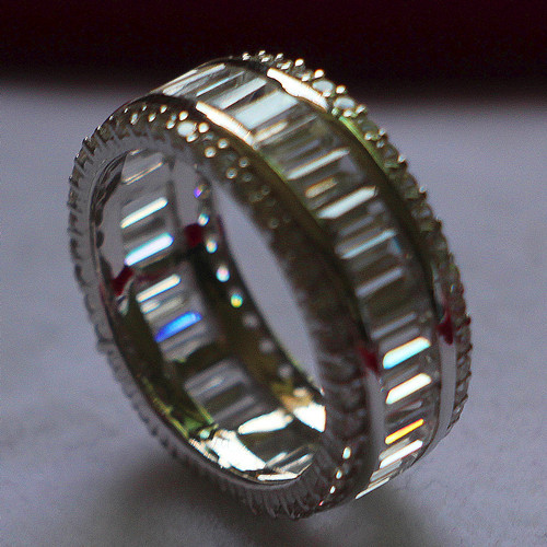 Super Luxury Ring Brilliant Ladder Side Simulate Diamond Ring 925 Sterling Silver Platinum Plated Engagement Ring Band Jewelry