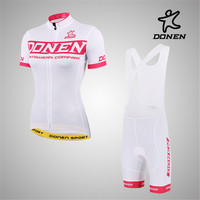 DONEN Big Discount Cycling Women Pink Short Sleeve Jersey Bib Shorts Paded Bike Racing Team Road Biker Cycling Sports Suit/Set