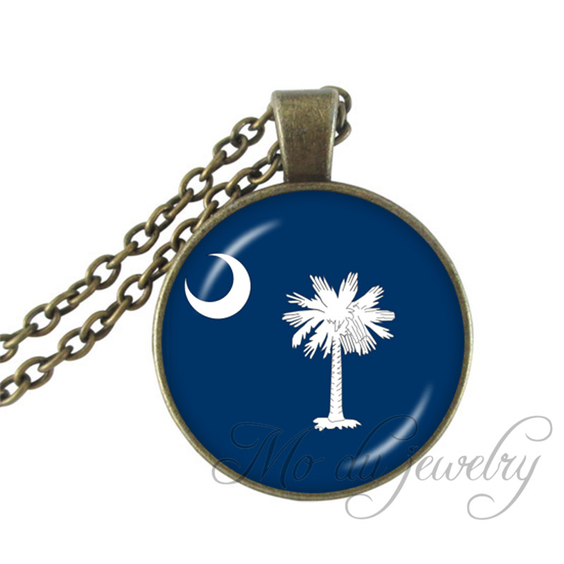 South Carolina State Necklace The State of South Carolina Pendant Flag of SC Jewelry US  ...