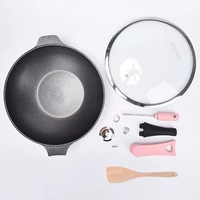Pink Multipurpose large deep pan 32cm Wok Home non stick Induction Cooker Gas General Alloy Compound Bottom 32x9cm