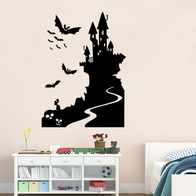 wonderful Halloween Wall Art Part - 5: Modern wall art home decoration wall stickers Halloween decor black bats  and castle festival living room showcase glass decals