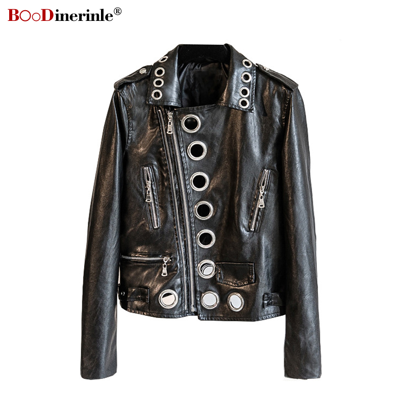 2019 Autumn Women's Coat New Black Fashion Long-sleeved Short Motorcycle PU   Leather   Jacket Female Metal Ring Hollow Jacket F019