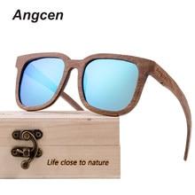 ae6001786 Angcen Preto Óculos De Sol Dos Homens Polarizados óculos De Sol de Madeira  De Madeira De