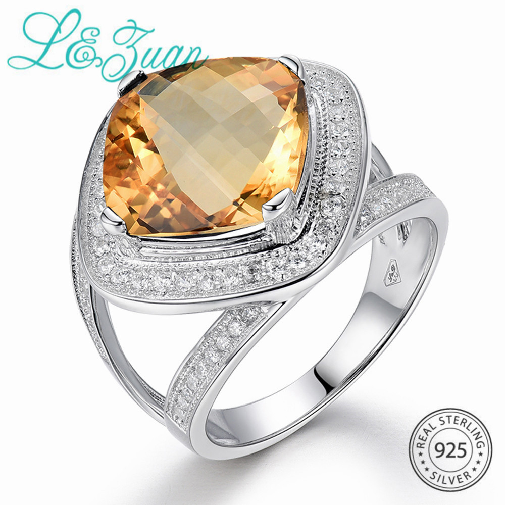 L&zuan S925 Sterling Silver Jewellery Ring Pure 7.42Ct Yellow Crystal Trendiest Rings Of Effective Jewellery For Ladies Christmas Reward