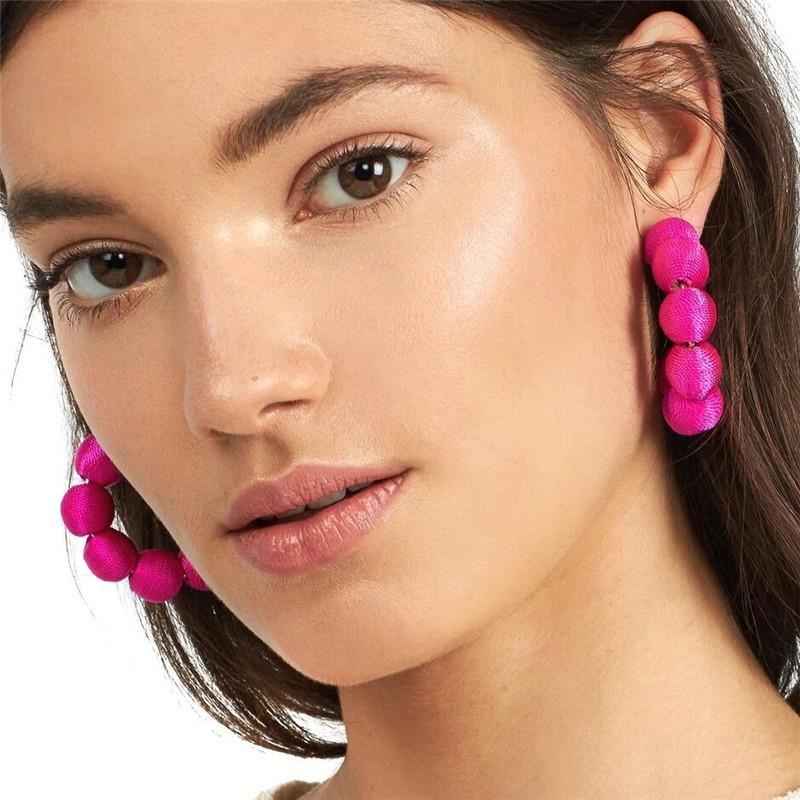 GEREIT Special Design Boho Large Circle Hoop Earring Big Pom Pom Ball Beads C Letter Statement Earrings For Women Indian Jewelry circle
