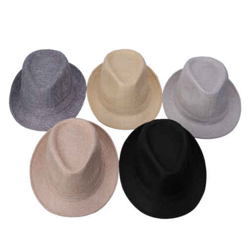 New Unisex Cuba Phong Cách Fedora Trilby Hat Gangster Panama Vành Ngắn Cap Sunhat