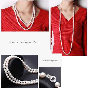 Elegant Long 110cm 100% Genuine Natural Pearl Near Round Women Necklace For Love Gift, Classic White Big 9-10mm Natural Pearl - DISCOUNT ITEM  50% OFF All Category