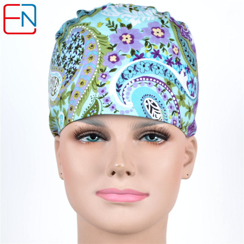 Hennar Scrub Caps Mask Sets Women Men Medical Print Hospital Clinical Surgical Cotton Unisex Hats Accessories High Quality