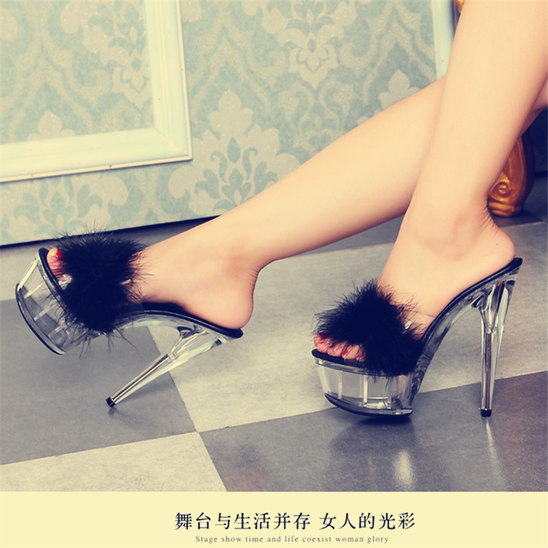 Size 34-44 Qitong Down Woman Thin Ultra High Heels Platform Slipper and Sandals Nightclub Womens Shoes Heeled Sexy Party Shoes  euro size 34 44 pu woman 15 and 17cm high heels platform sandals nightclub woman high heeled birthday party shoes for t station