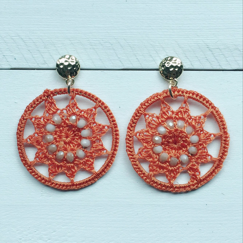 Dongmu jewellery handmade bohemian style rope braided crystal lady big earrings exaggerated fashion girl birthday gift