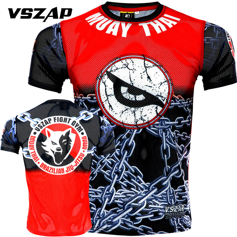 VSZAP Quick Dry MUAY THAI Fighting For Short Sleeve T-shirt Sports Running Martial Arts Wind MMA Fitness Fighting Men