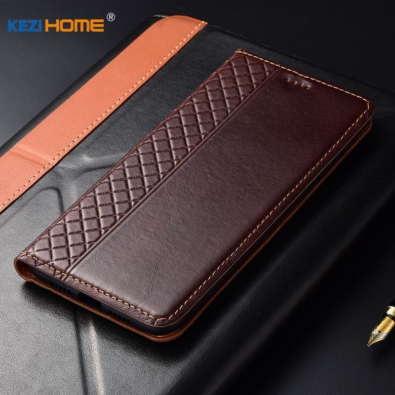 Case for ZTE Axon 9 Pro KEZiHOME Plaid style Genuine Leather Flip wallet Cover for ZTE Axon9 Pro Phone cases