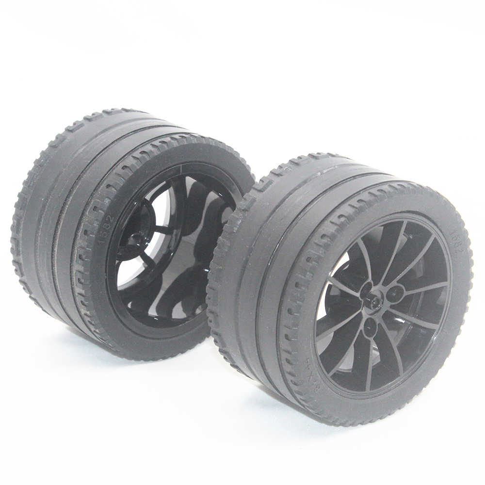 MOC Technic Parts 1pcs TYRE LOW WIDE DIA. 81X44 & RIM WIDE DIA 62.3X42 W/ 4.85 HOLE compatible with lego for kids boys toy