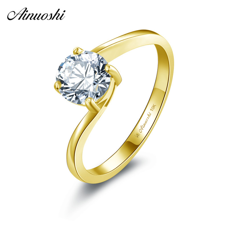 b50b6d564e AINUOSHI 10k Solid Yellow Gold Solitaire Ring 1ct Round Cut SONA Diamond  Female Wedding Engagement Jewelry
