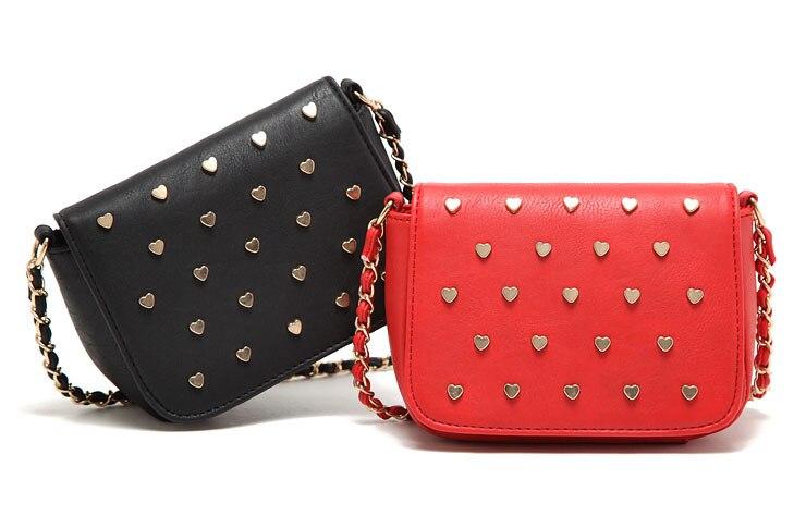 Women Mini Handbag Lady Elegant Cross Body Bag Heart Rivet ...