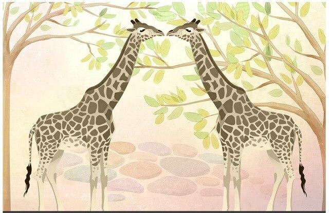 3D Photo Wallpaper Custom 3d Wall Murals HD Children Room Giraffe Green Trees Background