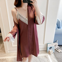 Summer New Women 2PCS Satin Home Dress Solid Lace Trim Sleepwear Sleep Robe Set Sexy Cami+Robe Nightgown Lounge Nightdress M XL