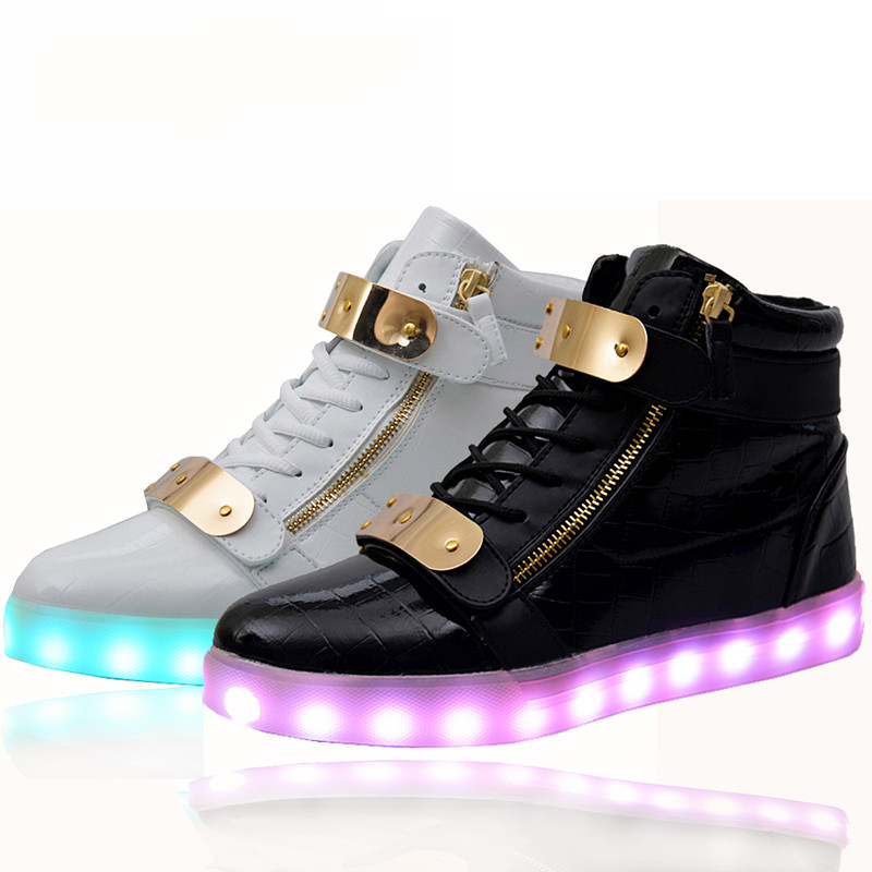 2016 New Men Amp Women Led Shoes For Adults High Top Glowing Led Light Up Shoes Luminous Woman
