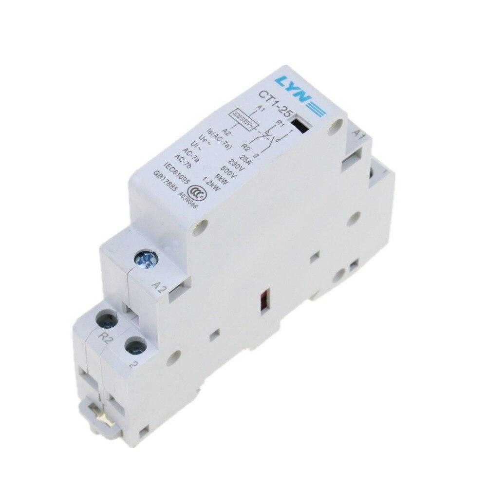 CT 2P 25A 220V contactor AC doméstico 2NO dos normalmente abierto de alta calidad marca dingle TOCT1 2P 25A 220 V/230 V 50/60 HZ, carril Din hogar ac contactor Modular 2NO 2NC o 1NO 1NC