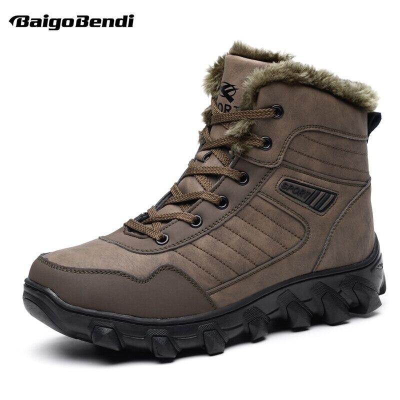 Super Recommander! Grande taille 11 12 13 homme fourrure épaisse imperméable neige bottes hiver peluche mi-mollet thermique bottes hommes coton chaussures