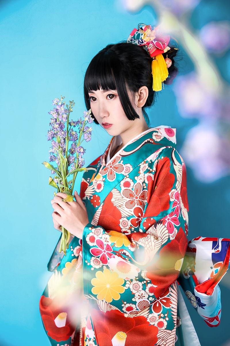Print Floral Elegant Girl Dress Gown Traditional Japanese Kimono High Quality 12Pcs Set Yukata Classic Lady Stage Show Clothes
