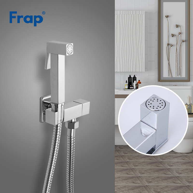 FRAP Bidets solid brass single cold water bidet toilet faucet function square hand sprayer bidet shower tap 90 degree switch    FRAP Bidets solid brass single cold water bidet toilet faucet function square hand sprayer bidet shower tap 90 degree switch