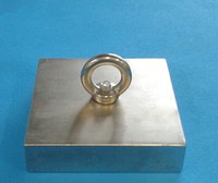 NdFeB Magnet 100x100x25 mm 4 with M10 Screw Countersunk Hole Holding and Lifting Block Neodymium Rare Earth Permanent Magnet