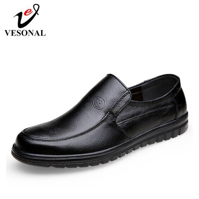 VESONAL 2019 קיץ נוח להחליק על עור אמיתיות גברים נעלי מוקסינים משרד עסקים שמלת פורמליות זכר נעליים