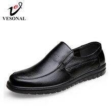 VESONAL mocasines cómodos de cuero genuino sin cordones para hombre, zapatos masculinos de estilo formal, para oficina y negocios, para verano, 2019