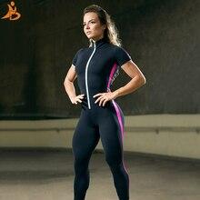 Conjunto esportivo feminino com zíper, roupas esportivas de manga curta sem costura para treino, trajes com elástico