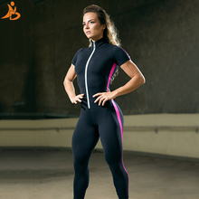 Short Sleeve Zipper Patchwork Tracksuit Women Sportwear Outfit Workout Clothes Women Seamless Set Sport Suit Elastic Yoga Set