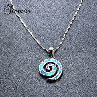 Bamos High Quality 925 Sterling Silver Filled Female Party Gift Unique Blue Fire Opal Spiral Pendant