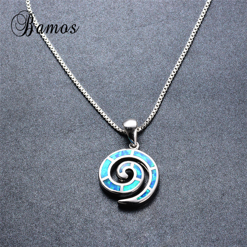Bamos High Quality 925 Sterling Silver Filled Female Party Gift Unique Blue Fire Opal Spiral Pendant Necklaces For Women NL0090