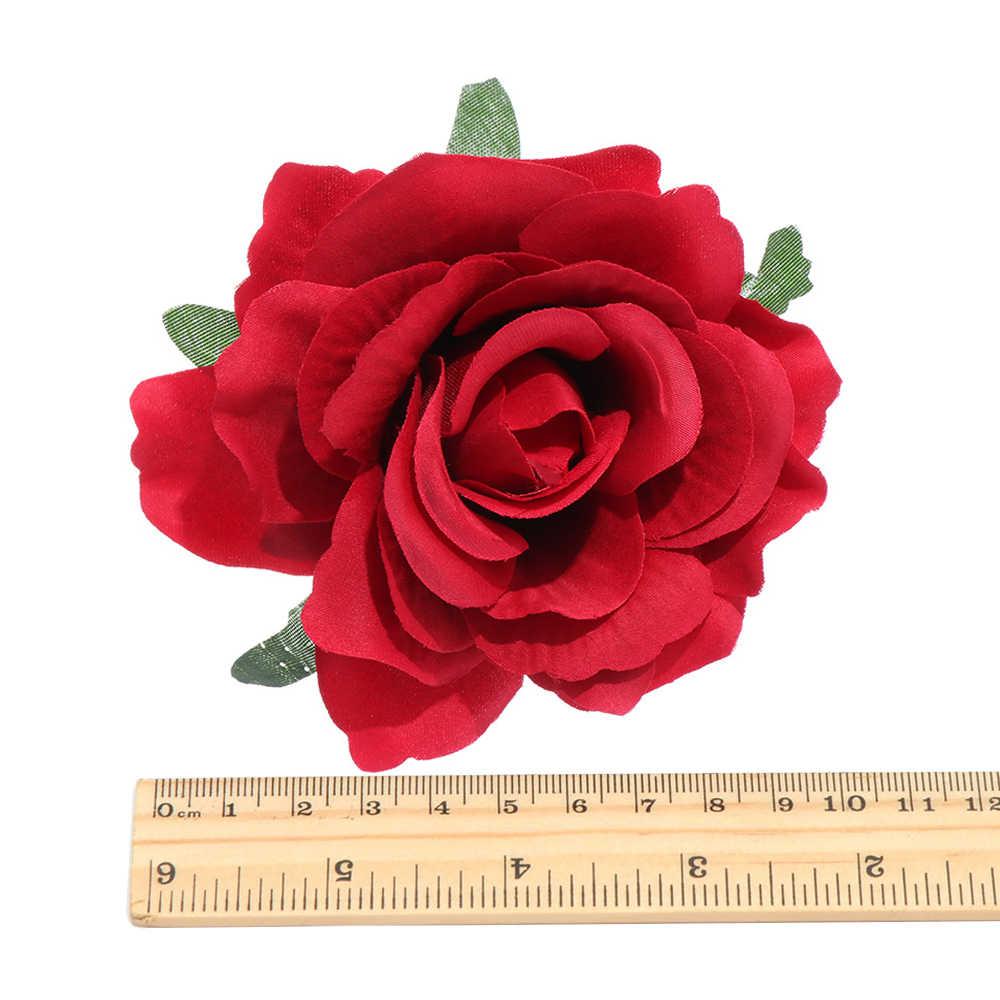 1Pcs Nupcial Da Flor de Rosa Mulheres Hairpin Mantilha Headwear Grampos de Cabelo Broche de Festa de Casamento Da Dama de honra Do Partido Festival de Acesso Cabelo