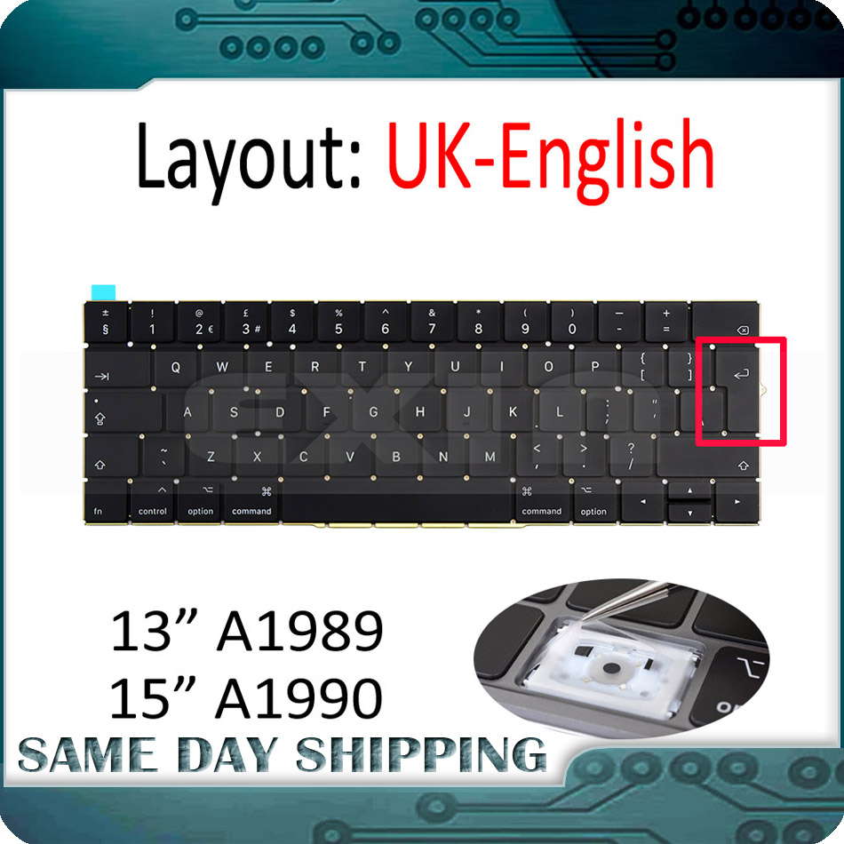 Original NEW for Apple Macbook Pro 13 15 A1989 A1990 Keyboard UK English Replacement MR9Q2 MR932